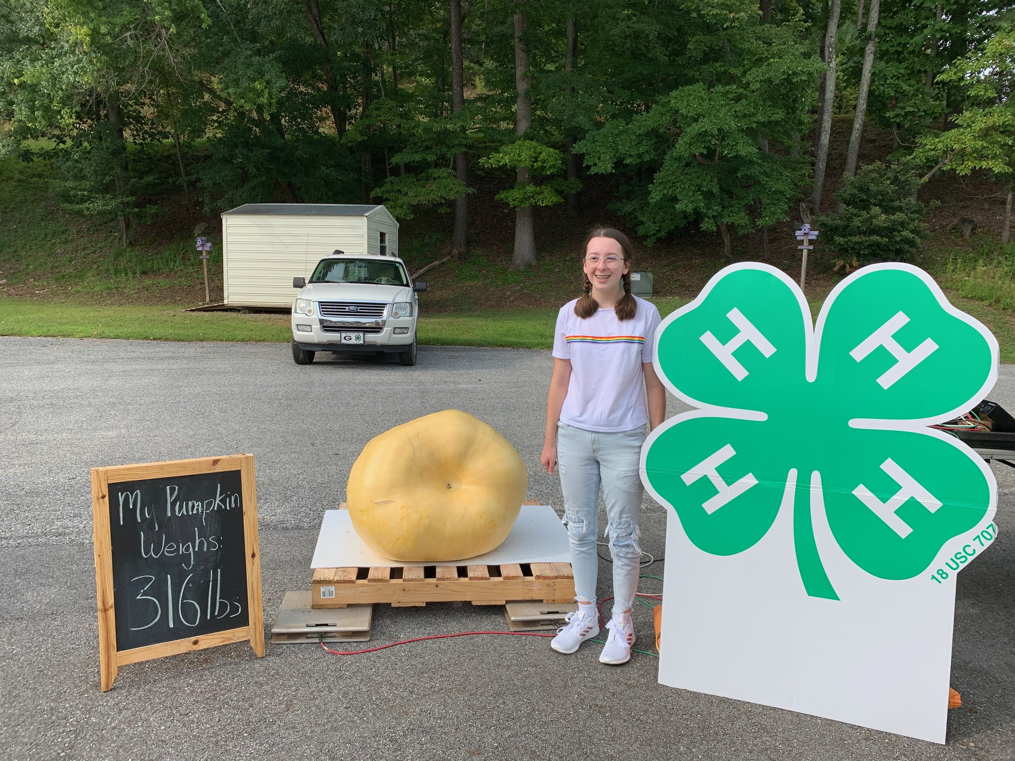 Ava Sharp of Union County had the third-place pumpkin, weighing 316 pounds.